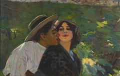 Ribera P. (toegeschreven aan) - Zomerse romance, olieverf op doek 63,9 x 100 cm