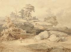 Kuytenbrouwer II M.A. - Valkenjacht bij de rotsen van Cuvier Chatillon in het bos van Fontainebleau, bruine inkt, zwart krijt en aquarel op papier 24,6 x 34 cm, gesigneerd l.o. en gedateerd 1847