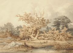 Kuytenbrouwer II M.A. - Gezicht in het bos van Fontainebleau, bruine inkt, zwart krijt en aquarel op papier 24,6 x 34 cm, gesigneerd r.o.