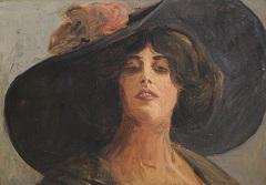Duitse school, begin 20e eeuw - Dame met grote hoed, olieverf op board 24,8 x 35 cm