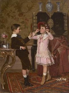 Roosenboom A. - Het rode hoedje, olieverf op doek 34,4 x 26,3 cm, gesigneerd r.o. en gedateerd 1883