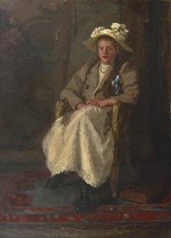 Houten B.E. - Meisje in een stoel, olieverf op doek 158,3 x 116,7 cm, gesigneerd r.o. en te dateren vóór 1901