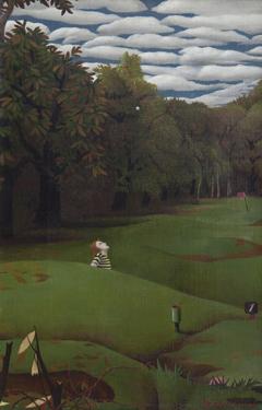 Koch P.F.Ch. - Golflinks I-II, olieverf op doek 30,2 x 20,4 cm, gesigneerd r.o. en gedateerd '57