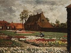 Koster A.L. - Het huis van Benedictus de Spinoza te Rijnsburg temidden van bloeiende tulpenvelden, olieverf op doek 75,1 x 100,4 cm, gesigneerd l.o.