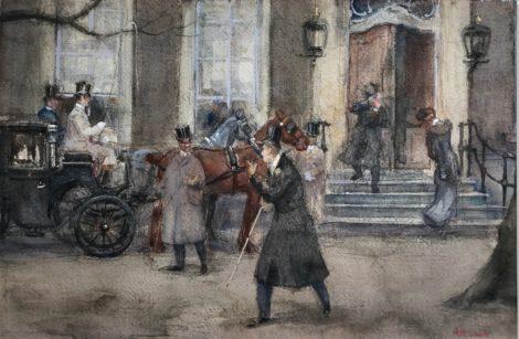 Luijt A.M. - Bedrijvigheid voor Lange Voorhout 32, Den Haag, potlood en aquarel op papier 33,6 x 50 cm , gesigneerd r.o.