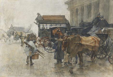 Josselin de Jong P. de - Koetsjes bij het station Hollandse Spoor, Den Haag, aquarel op papier 41 x 58 cm cm , gesigneerd l.o. en gedateerd Maart 1888