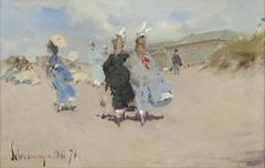Kaemmerer A.F. - Elegante dames op het strand van Scheveningen, olieverf op board 15,5 x 24 cm, gedateerd 'Scheveningen Mai '71'