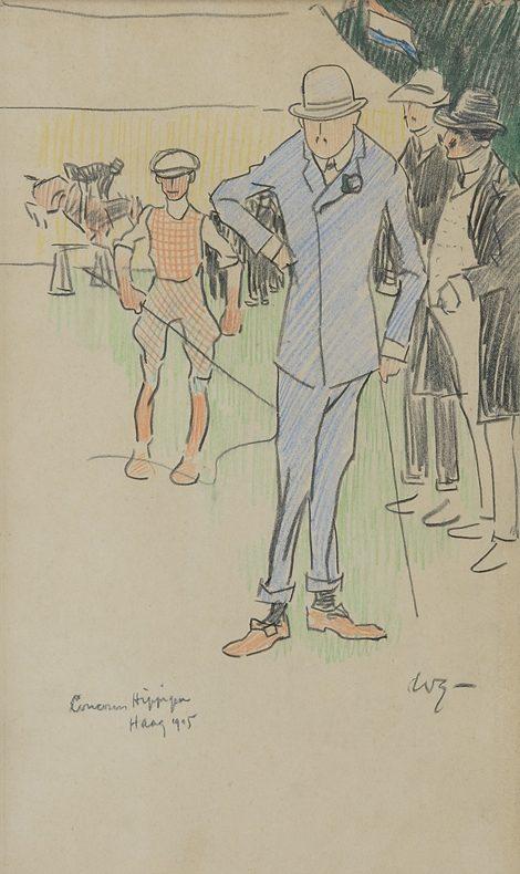 Sluiter J.W. - Op het Internationale Cocours Hippique Den Haag, 1905, krijt op papier 32,7 x 19 cm , gesigneerd r.o. met initialen en gedateerd 1905