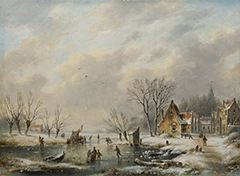 Hendriks G. - IJspret bij een winters dorpje, olieverf op paneel 26 x 35,1 cm