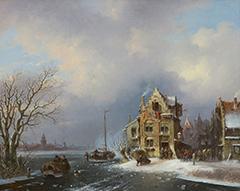 Stok J. van der - Bedrijvigheid in een stad aan een bevroren rivier, olieverf op doek 40,8 x 50,6 cm, gesigneerd r.o. en gedateerd '59