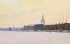 Meuldijk M. - Schaatsers op de IJssel bij Kampen, olieverf op doek 64 x 100,7 cm, gesigneerd l.o. en gedateerd '29