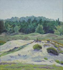 Huszár V. - Zandverstuiving bij Hulshorst op de Veluwe, olieverf op doek op paneel 38,4 x 34,3 cm, gesigneerd l.o.