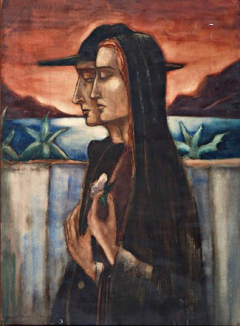 Schelfhout L. - Vrouw en man, Corsica, krijt en aquarel op papier 93,4 x 68,6 cm, gesigneerd l.o. en gedateerd 1922