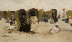 Arntzenius P.F.N.J. - Badgasten op het Scheveningse strand, olieverf op doek op paneel 31,6 x 51,5 cm , gesigneerd l.o.