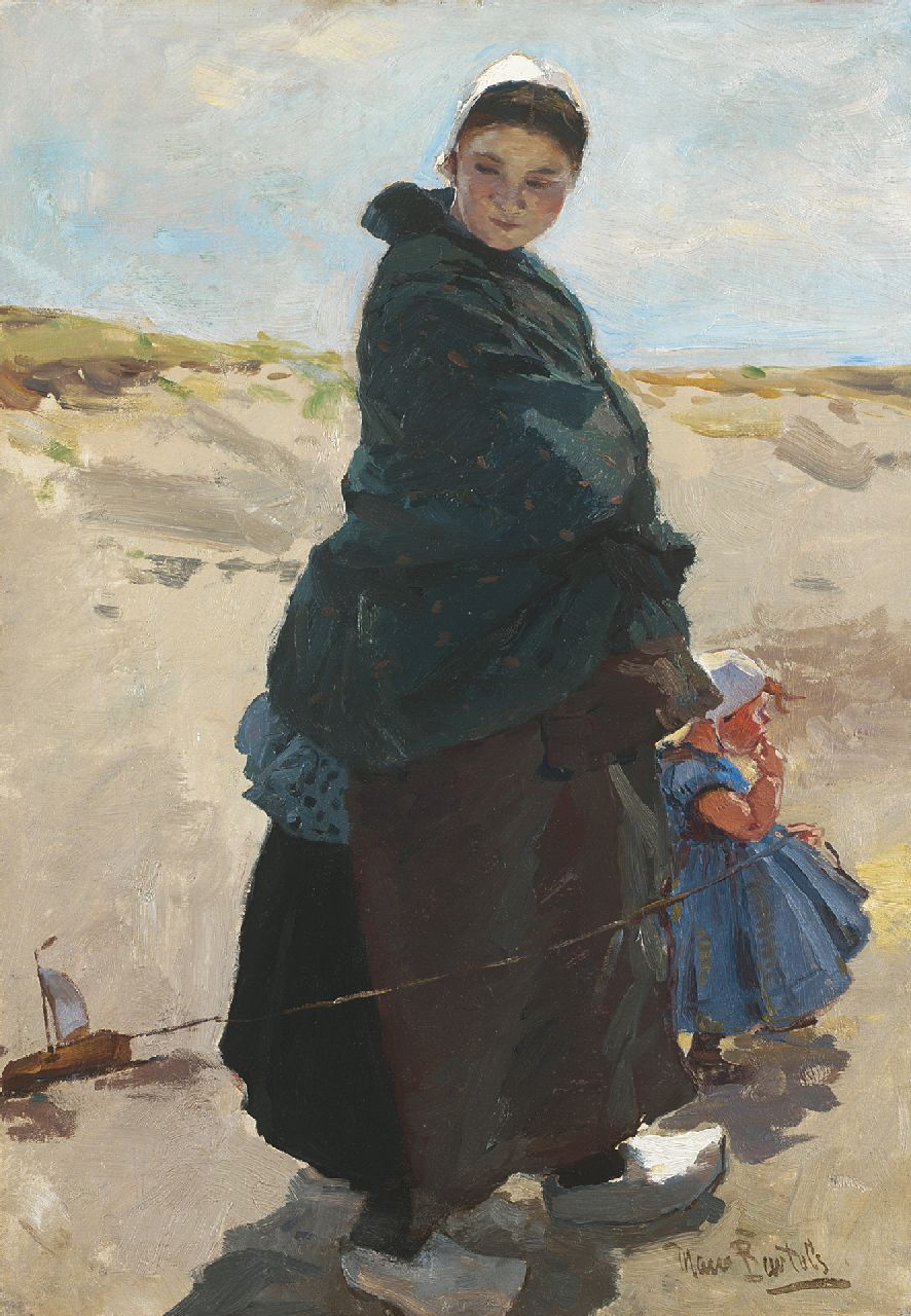 Bartels H. von - Mijmering (vissersvrouw met kind, Katwijk), olieverf op doek 47,6 x 33,3 cm, gesigneerd r.o.