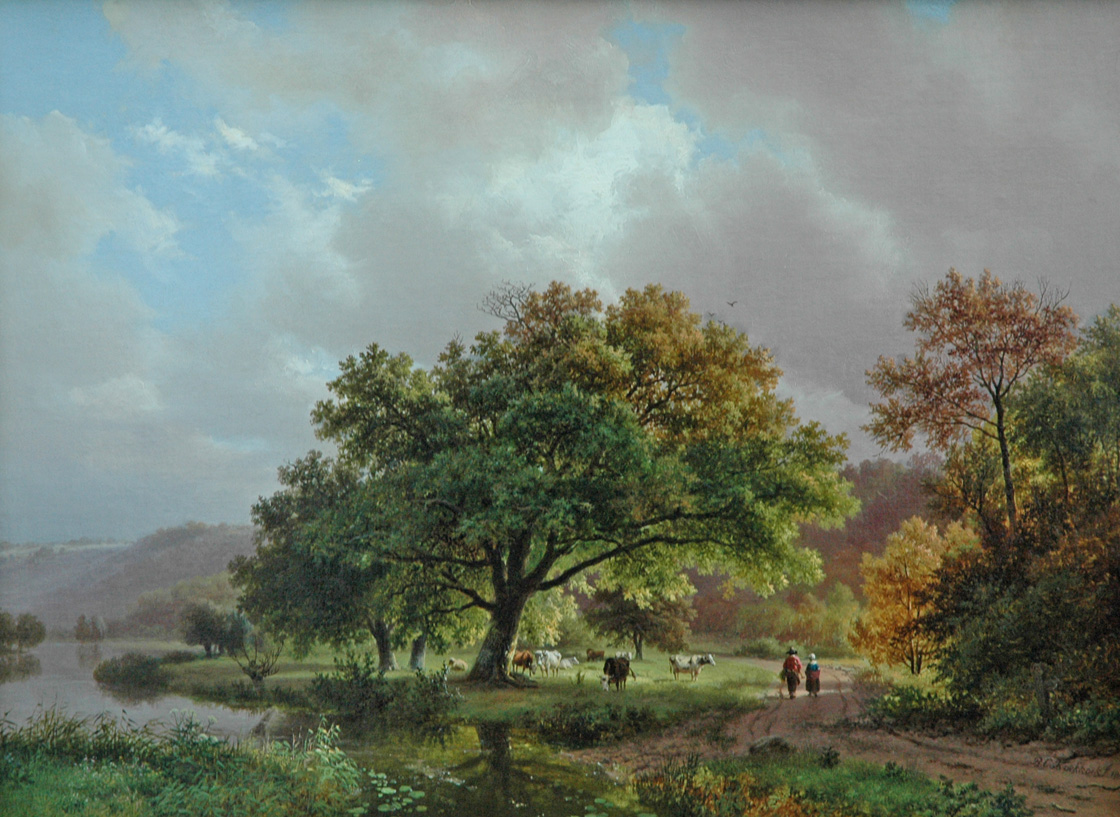 Koekkoek B.C. - Wodanseiken langs 'Het Meertje' (Wylerbergmeer) te Beek bij Nijmegen, olieverf op doek 39 x 53 cm, gesigneerd r.o. en gedateerd 1840