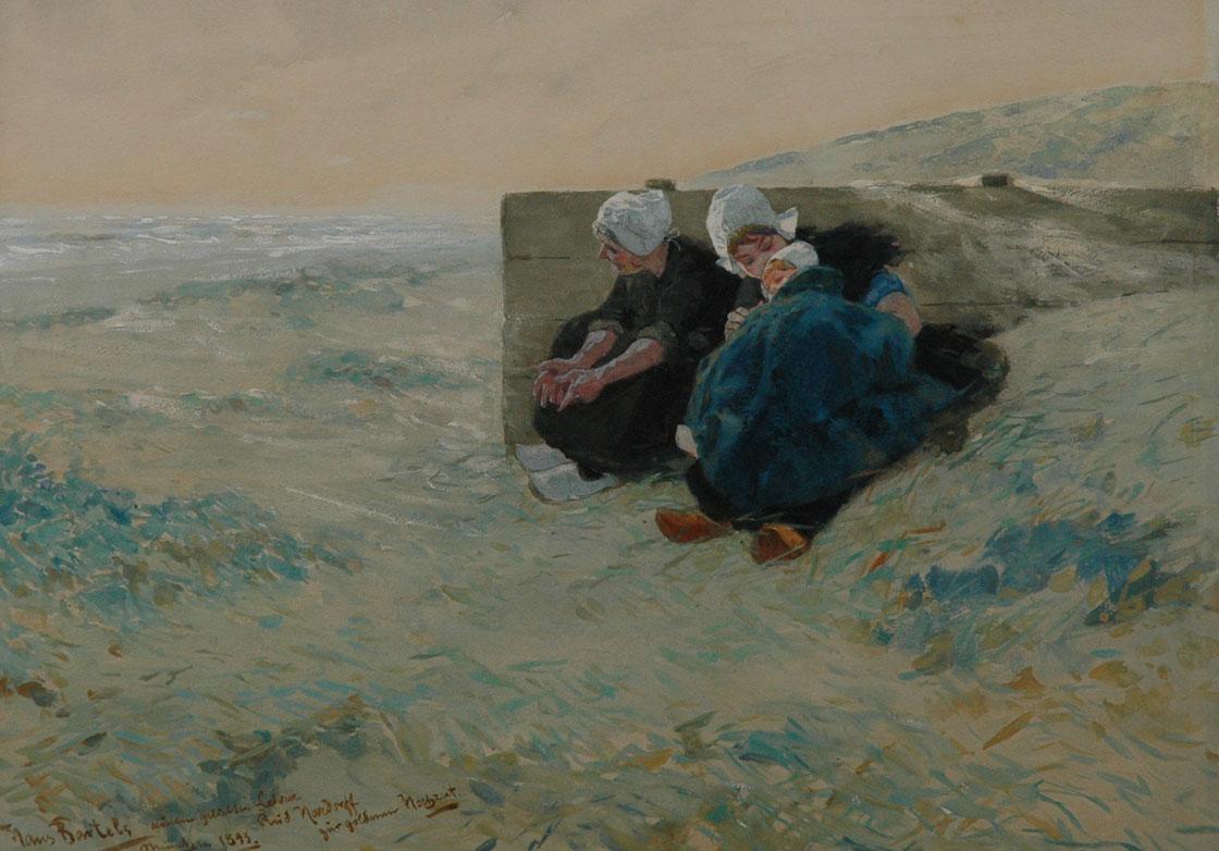 Bartels H. von - Twee vrouwen en kind in de duinen, gouache op papier 29,7 x 40,6 cm, gesigneerd l.o. en gedateerd 'München 1893'