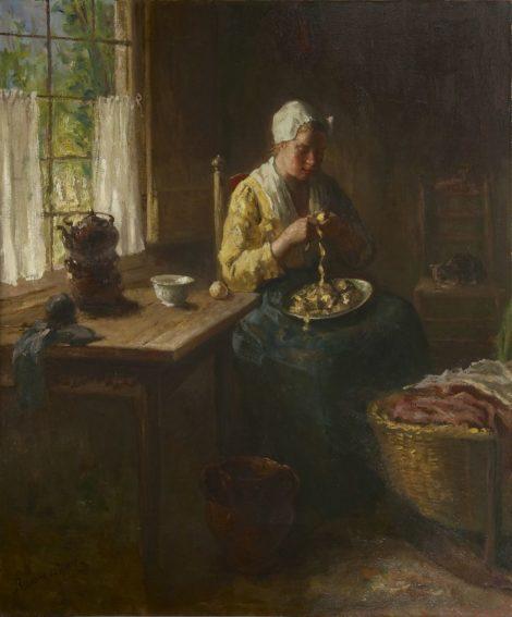 Hoog J.B. de - Aardappels schillen, olieverf op doek 120,3 x 100,3 cm, gesigneerd l.o.