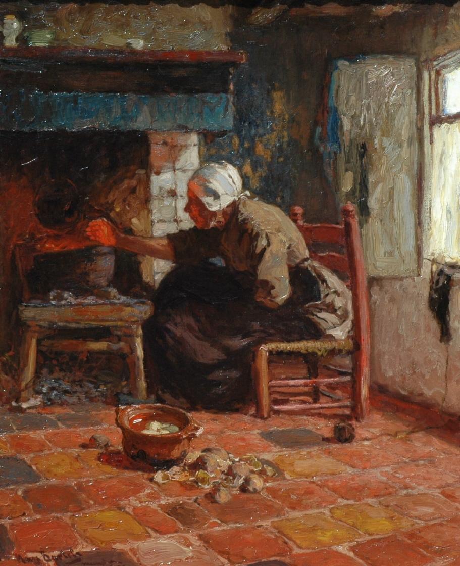 Bartels H. von - Katwijkse vrouw bij het haardvuur, olieverf op doek 67,3 x 55 cm, gesigneerd l.o.