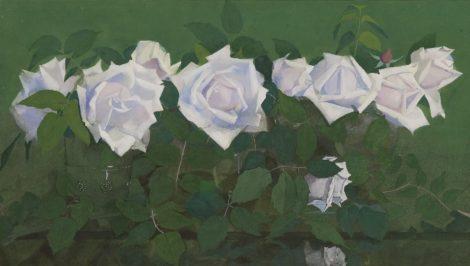Voerman sr. J. - 'La France'-rozen in antieke glazen, gouache op papier 31,8 x 56,9 cm, gesigneerd r.o. en te dateren ca. 1891-1899