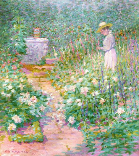 Breman A.J. - In den tuin, olieverf op doek 56,3 x 48,8 cm, gesigneerd l.o. en gedateerd 1917