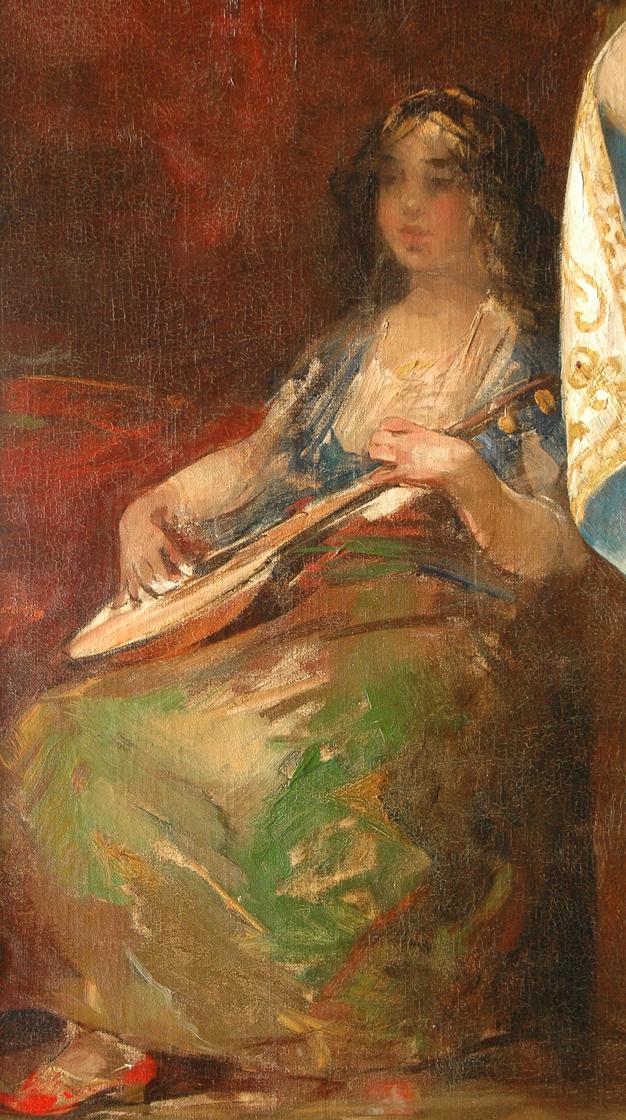 Smith H. - Luitspelende vrouw, olieverf op doek 105,7 x 60,5 cm