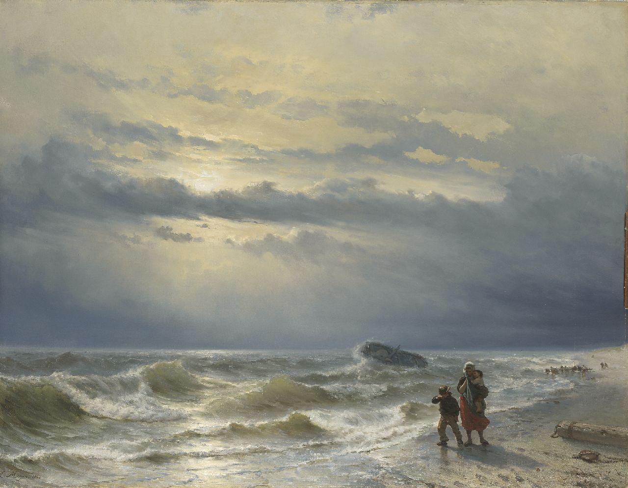 Meijer, J.H.L. - Na de schipbreuk, olieverf op doek 88,8 x 115,4 cm, gesigneerd l.o. en gedateerd 1864