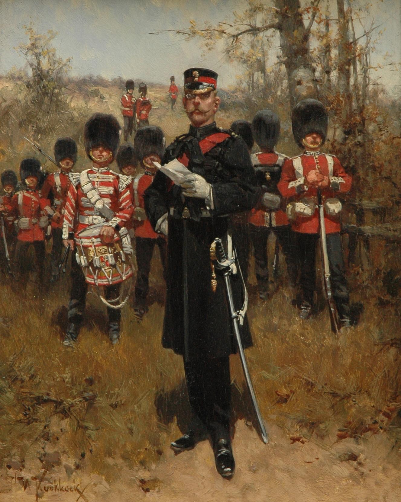 Koekkoek, H.W. - Grenadiers Guards van het Britse leger, olieverf op paneel 27 x 21,2 cm, gesigneerd l.o. en te dateren ca. 1898