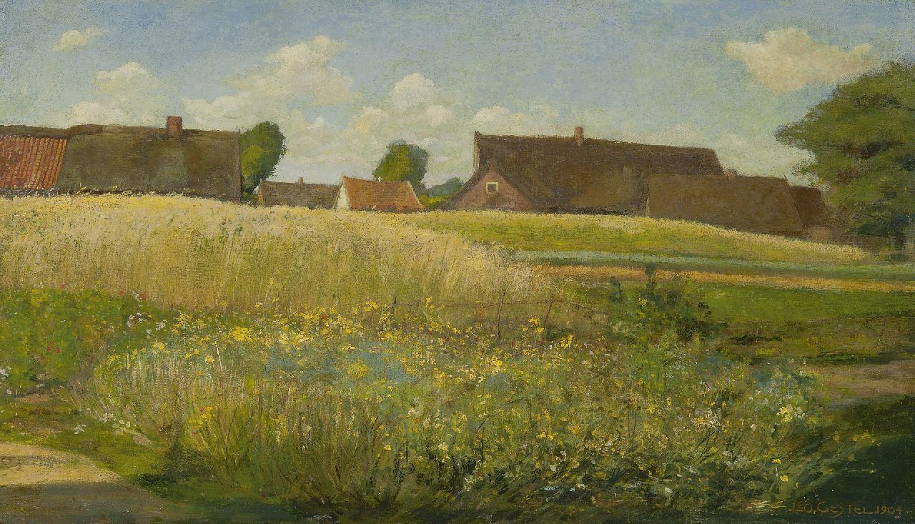 Gestel L. - Boerderijen langs het korenveld, olieverf op doek 37 x 62,5 cm, gesigneerd r.o. en gedateerd 1904