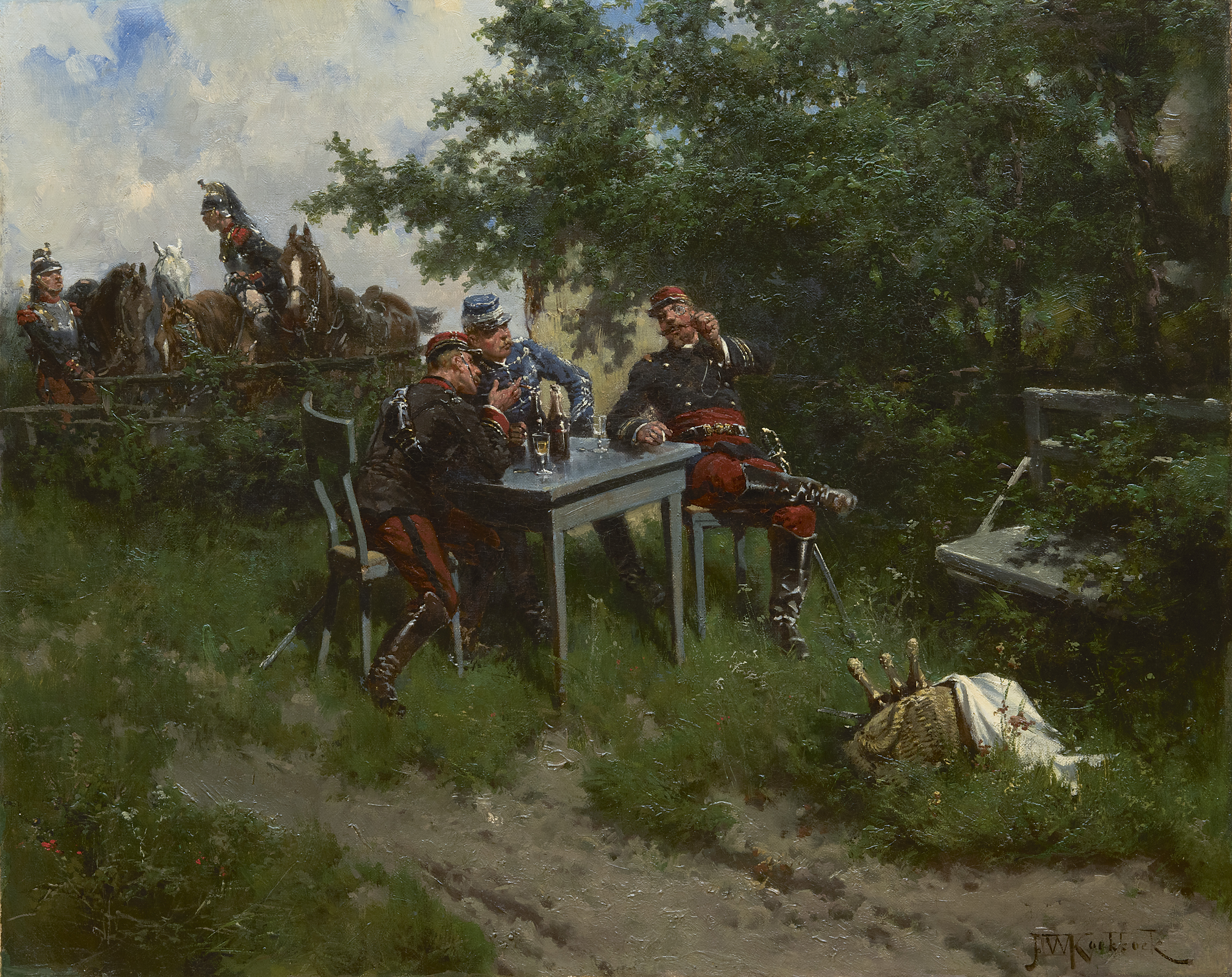Koekkoek, H.W. - Franse officieren en bereden kurassiers op oefening, olieverf op doek 43,5 x 53,2 cm, gesigneerd r.o. en te dateren 1892