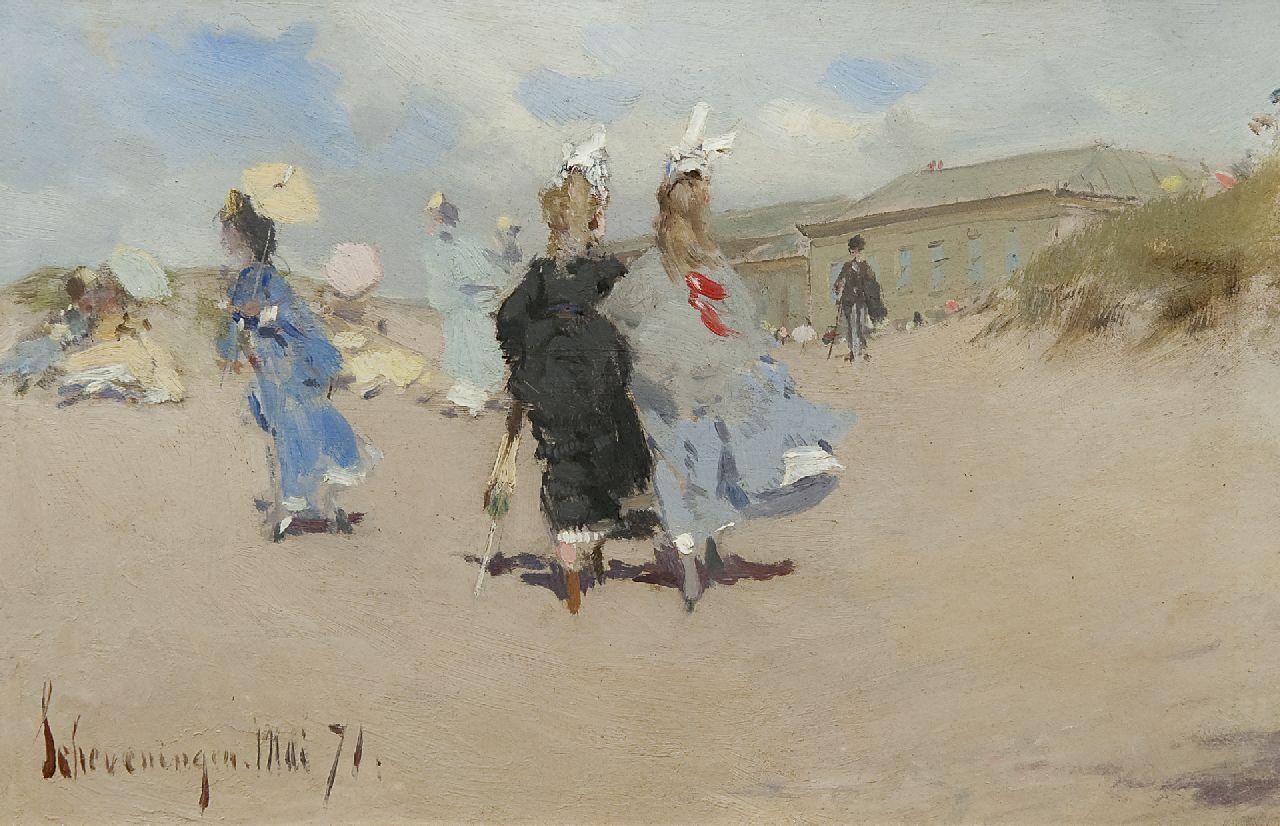 Kaemmerer, F.H. - Elegante dames op het strand van Scheveningen, olieverf op board 15,5 x 24 cm, gedateerd 'Scheveningen' Mai '71