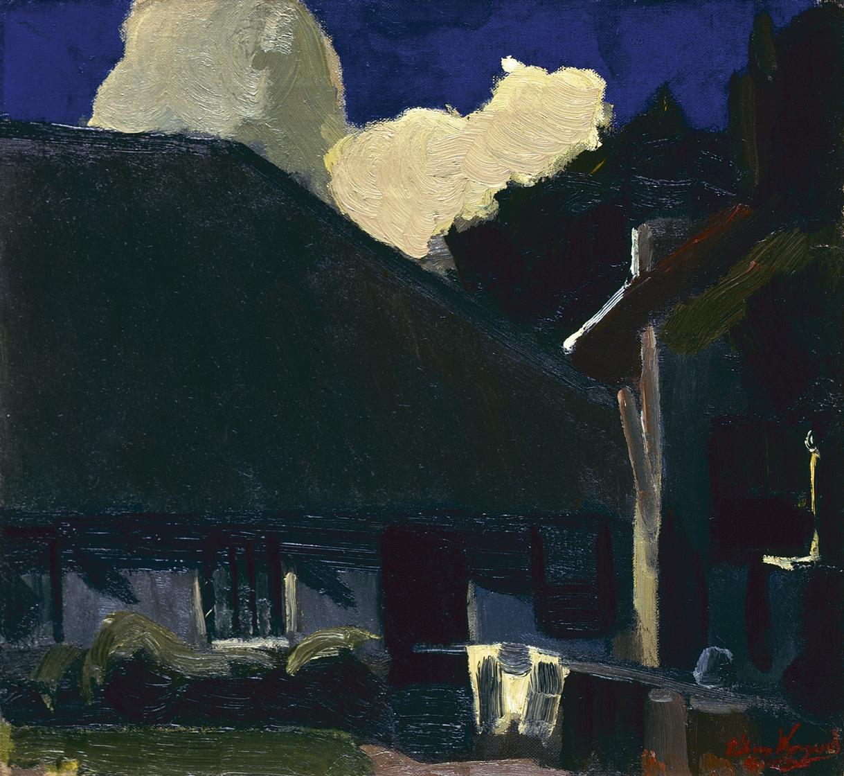 Wijngaerdt, P.T. van - Boerenwoning met blauwe lucht en witte wolken, olieverf op doek 38,4 x 41,4 cm, gesigneerd r.o. en te dateren ca. 1915