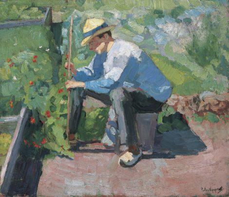Wijngaerdt, P.T. van - In de moestuin, olieverf op doek 65,1 x 75,4 cm, gesigneerd r.o.
