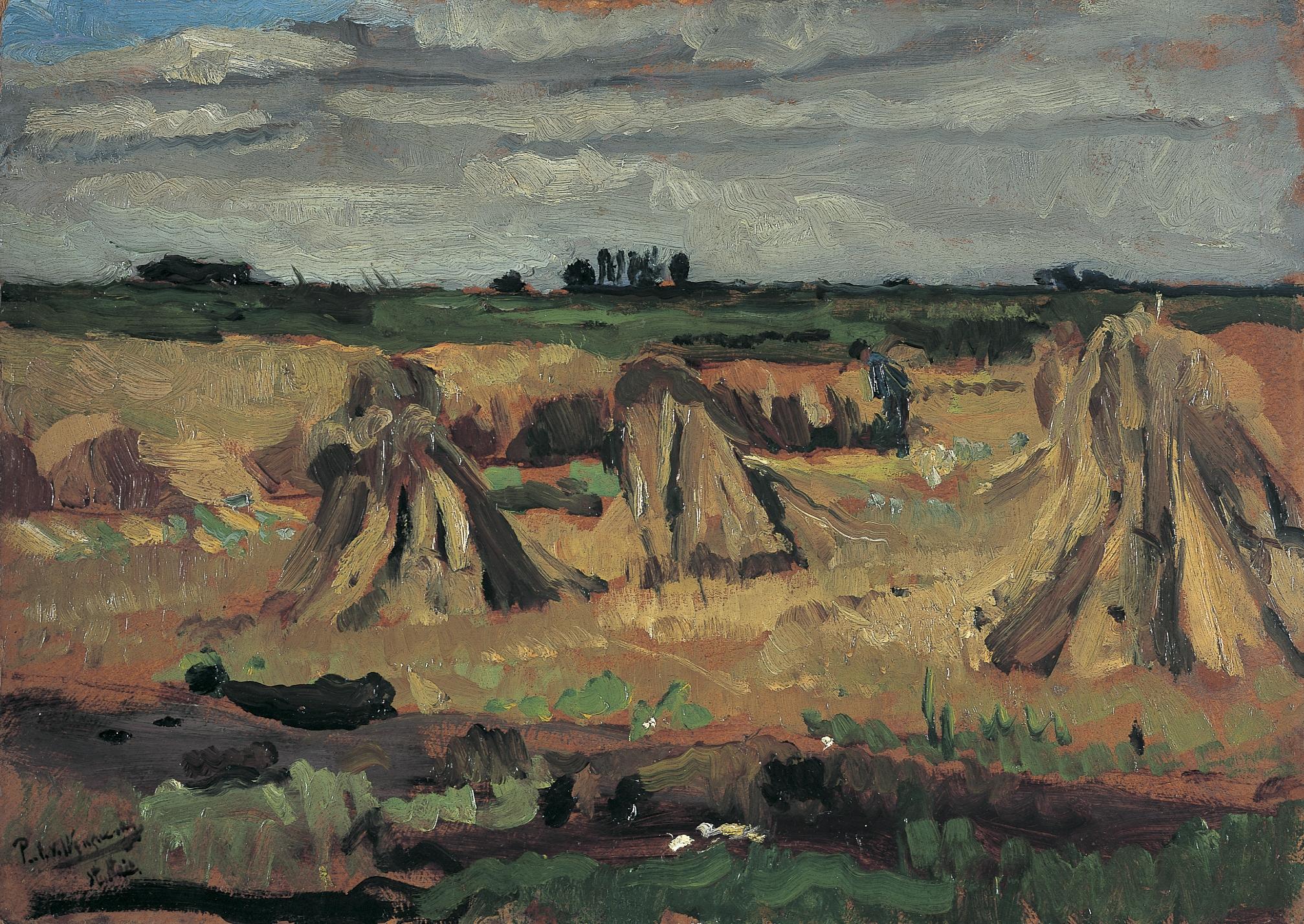 Wijngaerdt, P.T. van - Studie polder Amstelveen, olieverf op schildersboard 37,5 x 52,5 cm, gesigneerd l.o. en verso gedateerd 1902