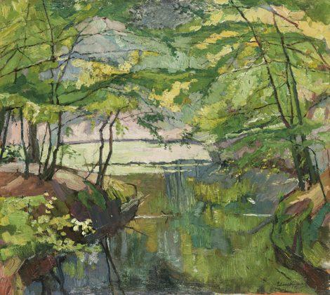 Wijngaerdt, P.T. van - Vijver in het Baarnse bos, olieverf op doek 55,1 x 61,2 cm, gesigneerd r.o.