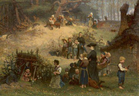 Allebé A. - Het kleine Sint-Jorisgilde te Dongen, olieverf op paneel 43,7 x 62,7 cm, gesigneerd r.o. en r.m. met monogram en gedateerd '66 (2x)