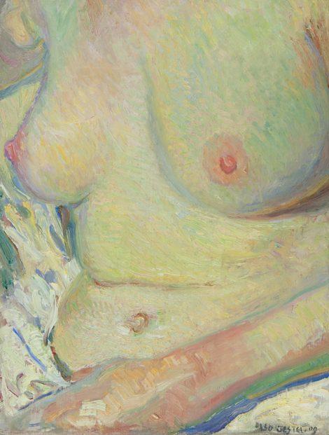Gestel L. - Vrouw, zittend in bad, olieverf op doek 33,5 x 25,6 cm, gesigneerd r.o. en gedateerd '09
