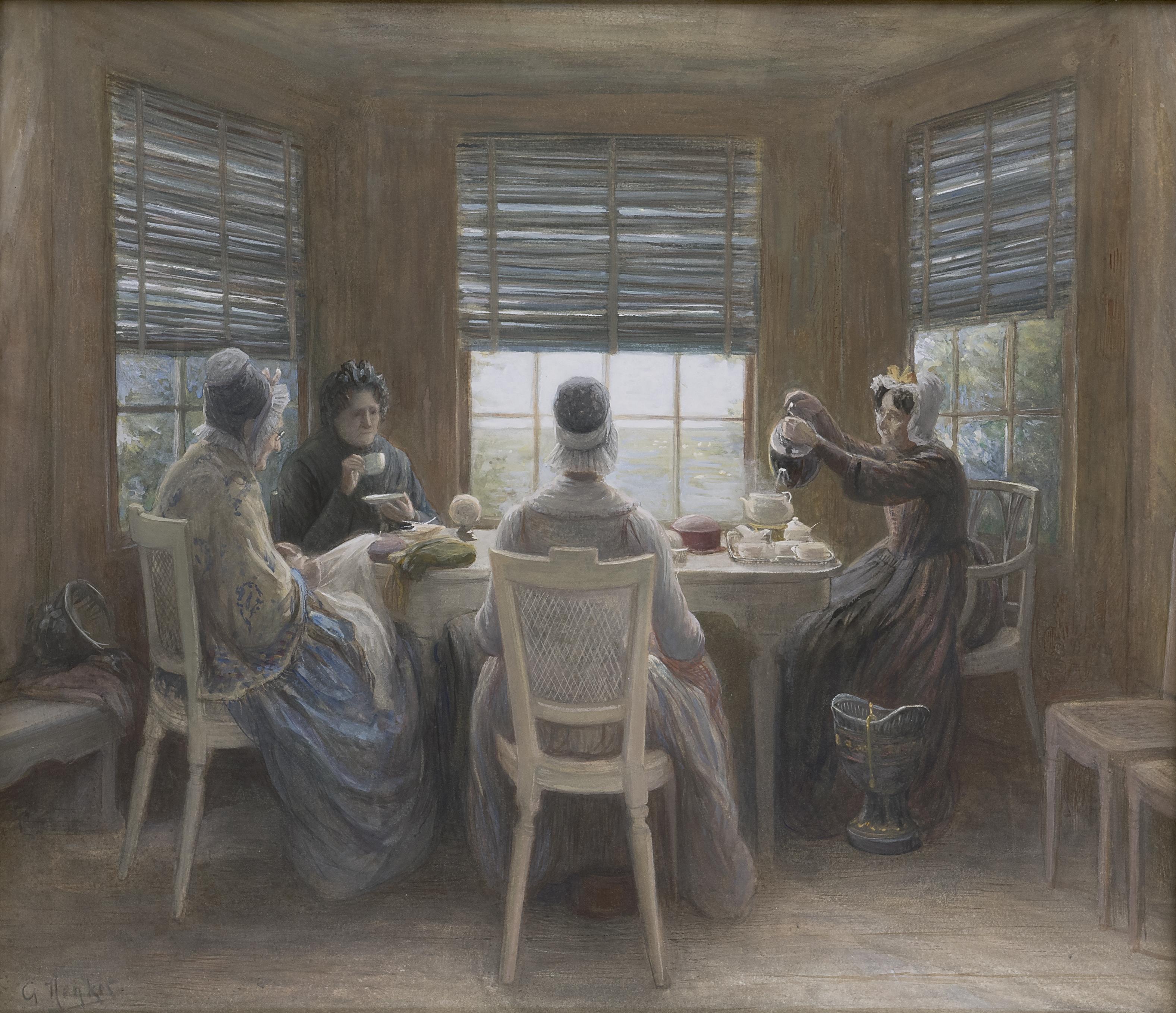 Henkes G. - Het thee-uurtje, aquarel op papier 50 x 57,5 cm, gesigneerd l.o.