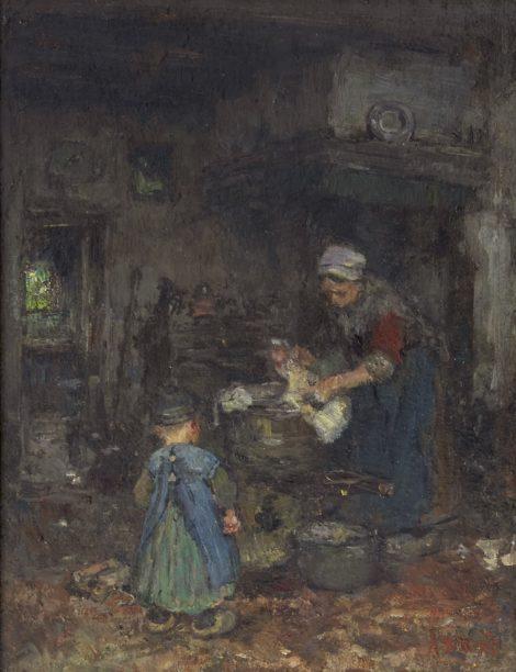 Briët A. - Boereninterieur met moeder en kind, olieverf op board op paneel 29,1 x 22,6 cm, gesigneerd r.o.