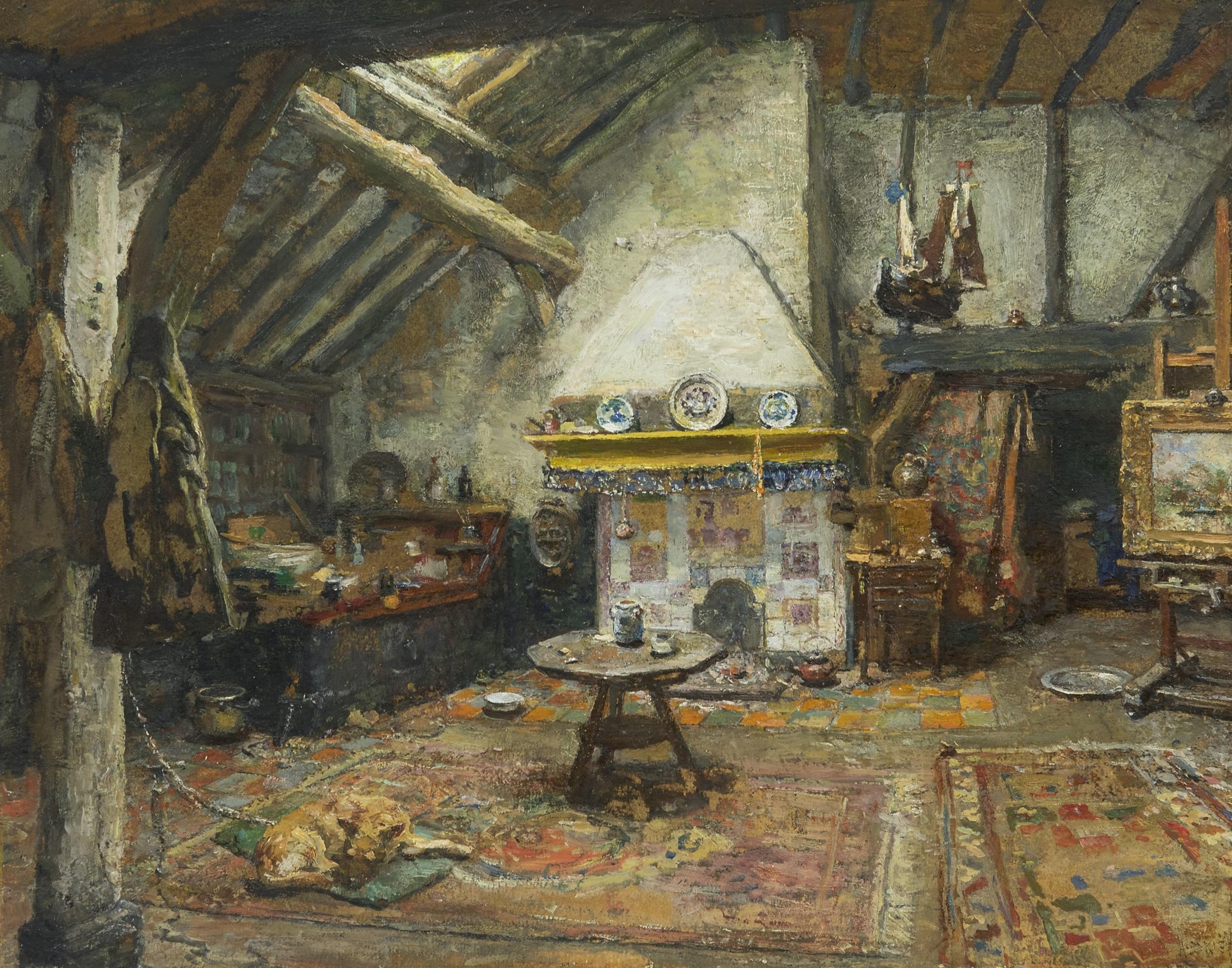 Briët A. - Het atelier van Frans Langeveld, olieverf op papier op paneel 35,2 x 43,7 cm, gesigneerd r.o.