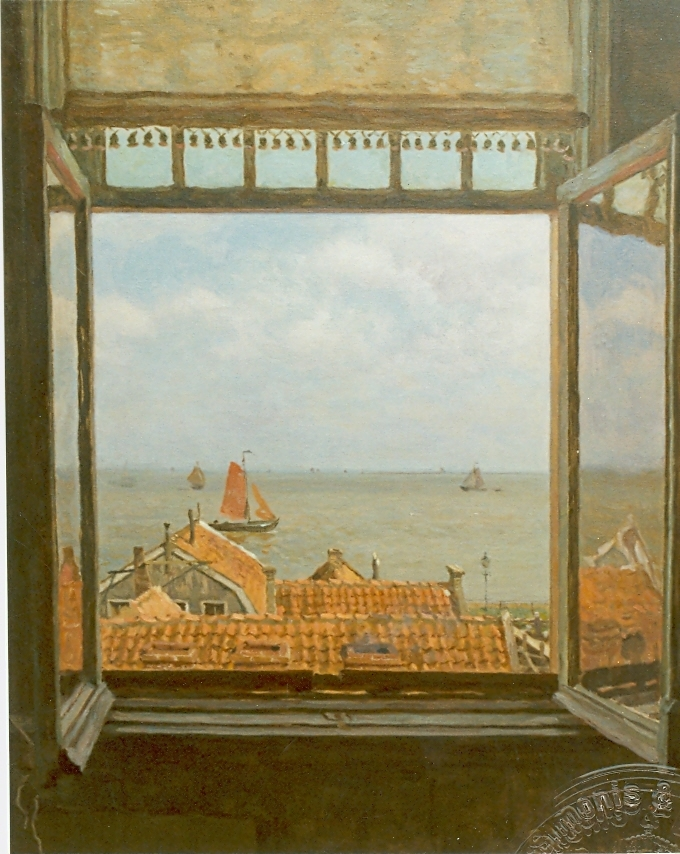 Tholen W.B. - Een gezicht op de Zuiderzee vanuit Hotel van Diepen, Volendam, olieverf op doek 70 x 58,5 cm, gesigneerd r.o.
