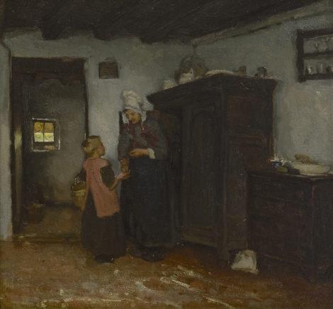 Neuhuys J.A. - Boereninterieur met Dongense boerin en kind, olieverf op paneel 40,4 x 43,7 cm, gesigneerd verso op etiket