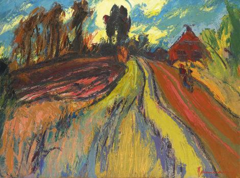 Vries J. de - Landschap bij Wetsinge-Sauwerd, olieverf op doek 60,4 x 80,4 cm, gesigneerd r.o.