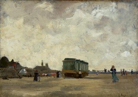 Arntzenius P.F.N.J. - Winderige dag op het Scheveningse strand, olieverf op doek op paneel 23,1 x 33,5 cm, gesigneerd r.o.