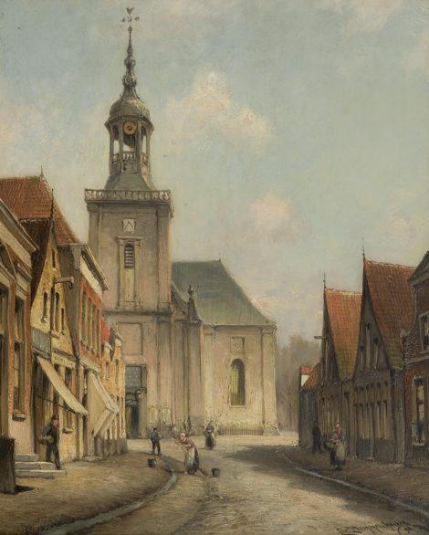 Dommelshuizen C.C. - Gezicht op de Kerkstraat, Almelo, olieverf op doek 38,6 x 31,5 cm , gesigneerd r.o. en gedateerd '98