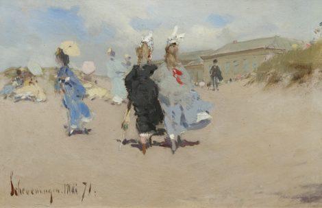 Kaemmerer F.H. - Elegante dames op het strand van Scheveningen, olieverf op board 15,5 x 24 cm, gedateerd 'Scheveningen' Mai '71