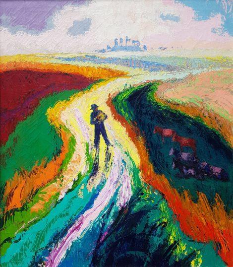 Vries J. de - Man op landweg, olieverf op doek 80,5 x 70,2 cm
