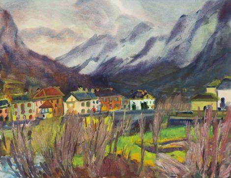 Vries J. de - Gezicht op Bignasco in het Maggiadal, Italië, aquarel en gouache op papier 55,8 x 73 cm