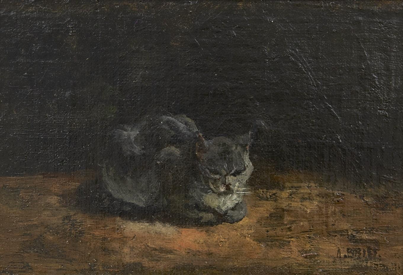 Briët A. - Slapende grijze kat, olieverf op doek op paneel 13 x 20,8 cm, gesigneerd r.o.