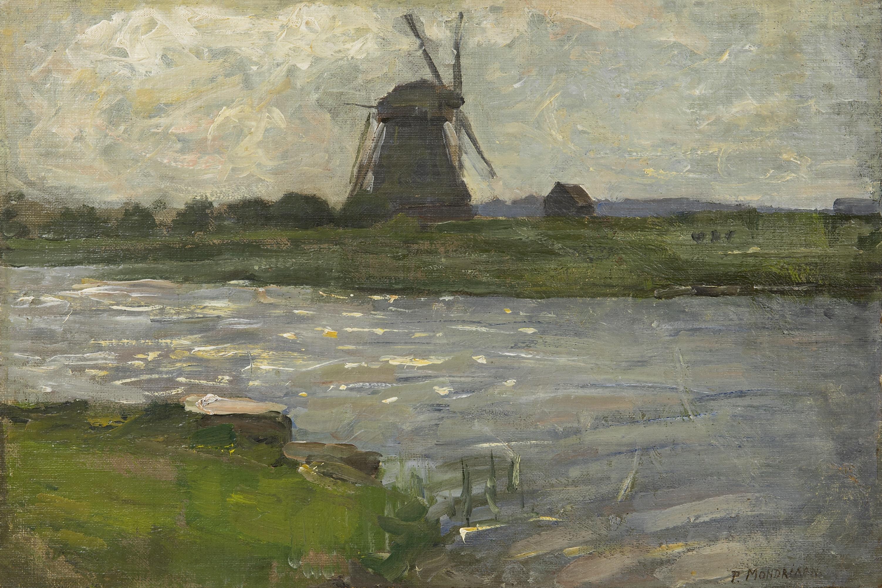 Mondriaan P.C. - De Oostzijdse Molen aan het Gein, gezien vanaf boerderij Landzicht, olieverf op doek 27,5 x 40,5 cm, gesigneerd r.o. en te dateren ca. 1903
